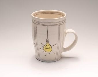 Porcelain handcarved lightbulb mug