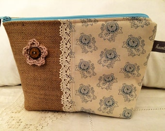 Handmade Make Up Cosmetics Bag, Hessian, Cotton, Lace, Blue Floral