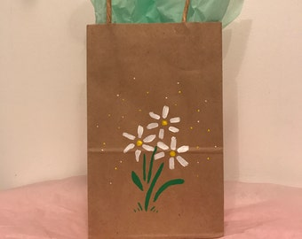 Hand Painted Daisy Gift Bag