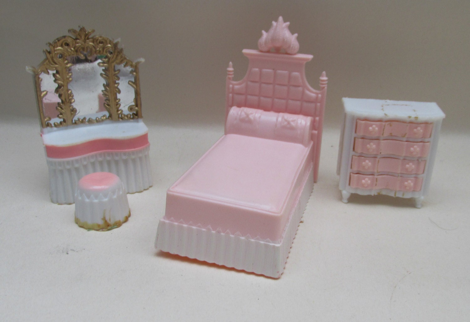 Vintage Early 1980s Blue Box Plastic Dolls House Furniture