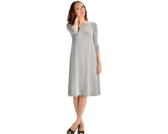 KMW Ladies Tunic Dress, Midi Dress, Casual Dress, Modest Dress, Dress with sleeves, Grey , Modest clothing