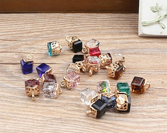 10pcs  Austrian Crystal Cube Charms Jewelry Oil Drop Square Pendant fit for Bracelet Necklace Charms DIY Fashion Accessories Making Findings