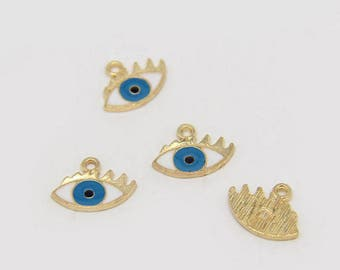 10Pcs Alloy Drop Gold Tone Enamel Eveil Eye Charm ,Cute Eye Necklace Pendants Gift Charms Accessories Jewelry