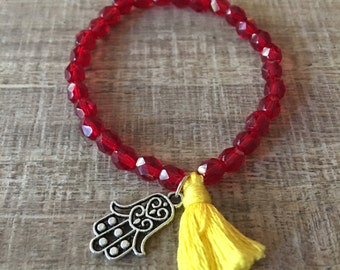 Sunset Glass Mala Bracelet, Red Bracelet, Glass Bracelet, Tassel Bracelet, Mala Jewelry, Hamsa Bracelet
