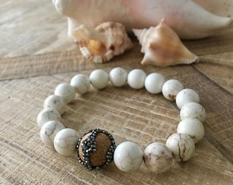 Resort Magnesite bracelet, Pave Hemitite Diamonds Wood Bead Bracelet, Resort Jewelry, Boho Bracelet.