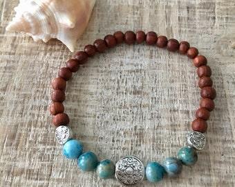 Beach Bracelet, Agate Bracelet, Bayong Wood Bracelet, Boho Jewelry, Boho Bracelet