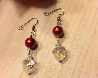 Be Mine Valentine Red Earrings with Crystal Heart