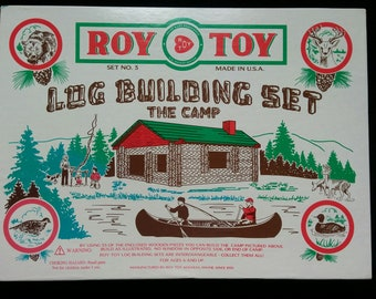 Roy Toy Log Building Set No. 3 THE CAMP 1997 Complete include Instructions