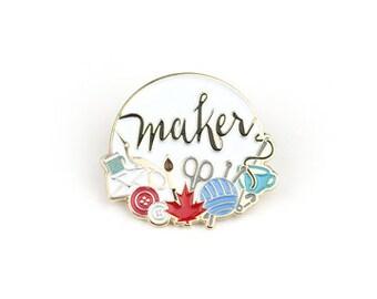 Canadian Makers - Enamel pin in white, lapel pin
