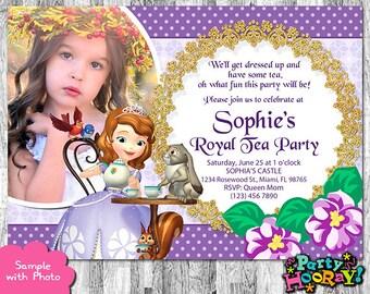 Sofía la primera invitación, invitación fiesta de té de la princesa, Sofia la primera invita, Sofía invitación, invitación de Tea Party, gracias tarjeta