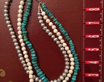 Turquoise/PEARL/conchs beads necklace with silver 925 Clasp