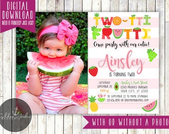 Twotti Frutti Birthday Invitation, Tutti Frutti, Two-tti Frutti, Fruity, 2nd Birthday, Photo - Printable DIY