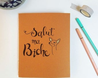 """Handmade and illustrated notebook - orange - A5 6.69"""" x 5.51"""