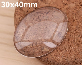 100x Oval 30x40mm Flat Back clear Crystal glass Cabochon Top quality clear cabochons for jewelry making