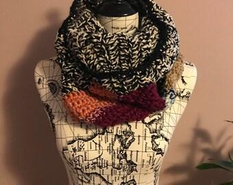 Crochet infinity scarf, multicolor scarf, striped scarf,