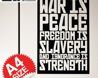 WAR IS PEACE - 1984 Quote - Poster-Style Vinyl Decal Sticker - Easy Application & Removable!