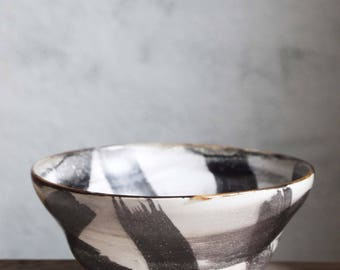 Hand painted ceramic medium size bowl, black and white pottery. Modern, decorative ceramic bowl, elegant serving bowl.