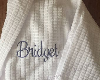 Waffle weave robe, Bride, Bridesmaids, college, dorm, monogrammed, personalized robe