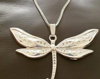 """Large bright silver plated dragon fly with scroll detail necklace on an 18"""" silver plated chain"""