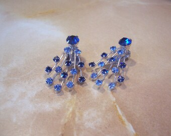 Signed Weiss Royal Blue and Light Blue Rhinestone Clip On Earrings