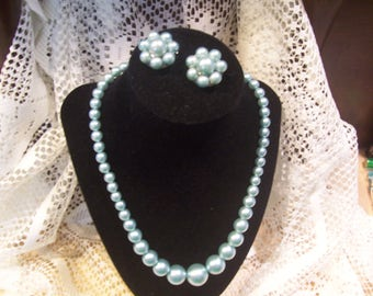Light Blue Single Strand Graduated Pearl Necklace and Earring Set, Japan