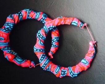 AFRICAN Ankara hoop earrings