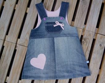 Sarafan jeans dress size 68 Upcycling heart