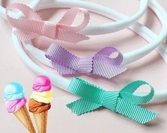 Set of 3 'Summer Ice Cream' Petersham Scalloped Bows