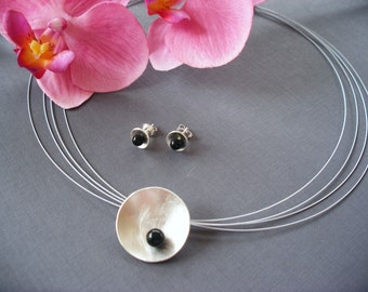 Silver bowl with Onyx & Stud Earrings 925/00 silver