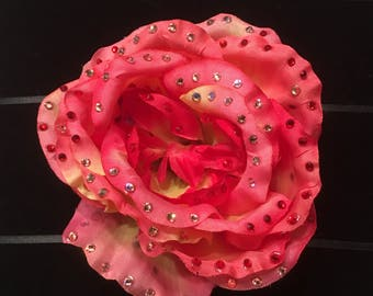 Peach Rose Burlesque Hair Flower Clip with Crystal Rhinestones