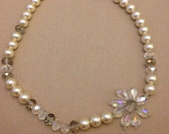 Vintage Asymmetrical Crystal Flower Necklace
