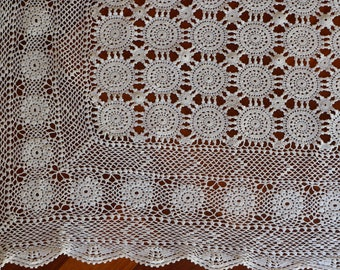 Vintage rectangular ivory crochet rosette pattern tablecloth with pretty border. Proceeds to charity VACD Ltd