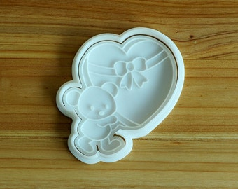 Bear Carrying Heart Box Cookie Cutter and Stamp