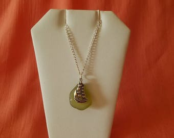 Great Lakes beach glass necklace with a rare color of beach glass and a sailing ship -silvertone
