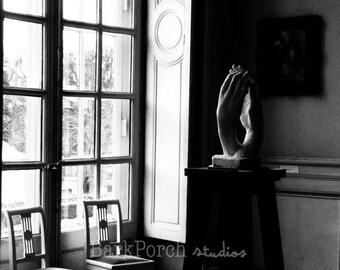 Rodin statue; Lover's Hands; Paris, France; black and white photography; wall art; poster; romantic; bedroom; living room; bathroom
