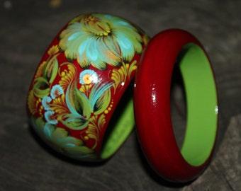 Wooden bracelets for women Hand painted bangle bracelets Chrysanthemum flower bracelet Wooden jewelry Ethnic jewelry Fantasy flowers
