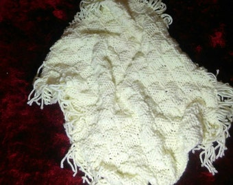 Aran Cream reversible Pram Blanket