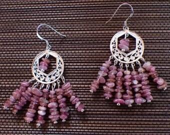 Earrings in pink tourmaline (rubellite)