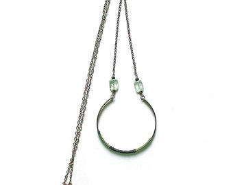 Geometric necklace with rock crystal beads