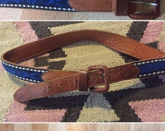 Vintage Southwestern Leather & Blue Woven Belt M