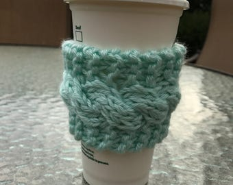 Cabled Coffee Cozy: Mint
