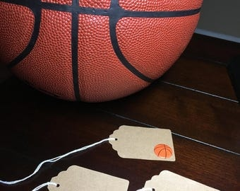 Basketball Favor Tags, Place Cards Name Cards, Basketball Baby Shower, Gift favor Tags Goodie Bag Tags, food labels, Food Tents - 6 per orde