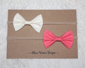 Coral and cream fabric bow headband set