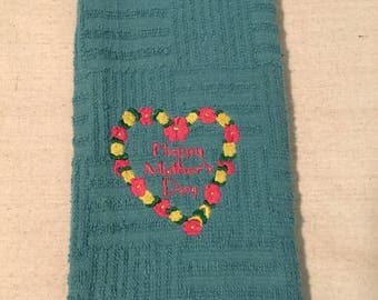 Embroidered Happy Mothers Day Kitchen Towel