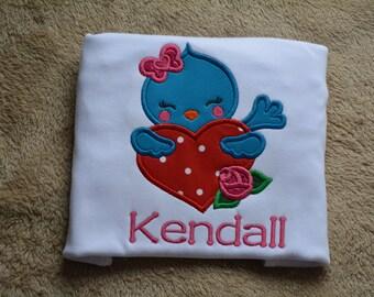 Love is Tweet bird valentine Day applique embroidered shirt