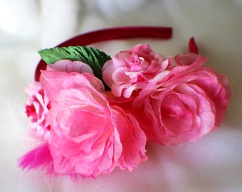 Elegant Flower Hairband, Beautiful Flower Crown, Pink Petals, Rose Hairband, Rose Crown