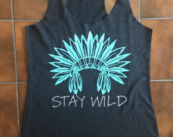 Stay Wild Heather Black Tank w/Turq&Silver