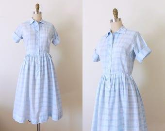 Vintage 1950s blue plaid cotton dress   50s blue plaid shirtdress   50s cotton day dress   shirt dress   full skirt fit and flare   S
