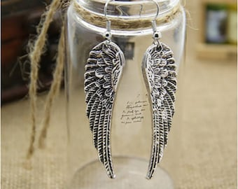 Large Limitless Wings Earrings Antique Silver Finish