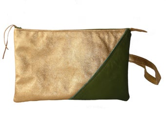 Gold and khaki leather pouch